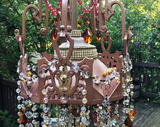 Grande Bohemian Garden Crystal Wind Chime, Crystal Suncatcher, Vintage French Chandelier Canopy, Sparkling & Dazzling