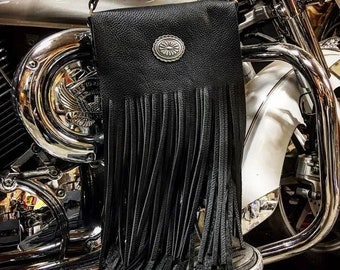 "Premium Full Grain Black Leather Fringe Shoulder Bag with Silver Concho, Biker, Gypsy Cowgirl, Country Western Purse, 8""L x 8""W x 2""D"