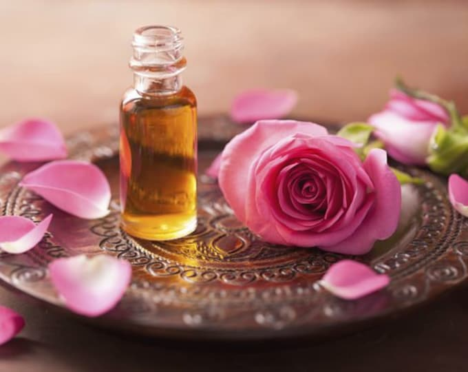 YASAMIN Botanical Perfume Oil ~ Exotic Floral ~ Moroccan Rose, Pink Lotus, Red Mandarin & Sweet Honey ~ Pure Love in a violet glass bottle