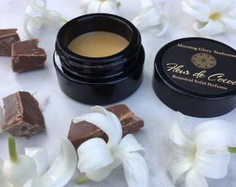 FLEUR DE COCOA Botanical Solid Perfume ~ hypnotic Jasmine Accord with notes of Ylang Ylang, Vanilla Bourbon, and Dark Chocolate