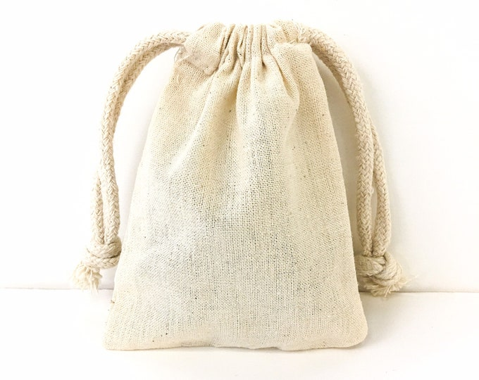 """SET OF 10 Unbleached Cotton Muslin Drawstring Bags 3.5""""W x 5""""L / Country Wedding Favors / Party Favors / Herbal Sachets / Bath Soak and More"""