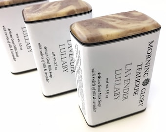 Lavender Lullaby Swirled Milkmade Soap, Local Raw Goat Milk, Bulgarian Lavender Essential Oil, Luxurious Silk, Tranquil & Calming Aroma