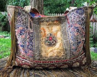 "Renaissance-Inspired Ancient Bohemian Carpet Bag ~ Large Shoulder Bag/Tote, Antique Fabrics & French Trims, Metallic Gold Bullion, 19"" x 12"""