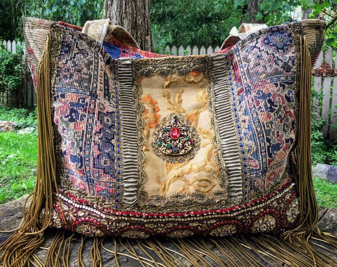 "Renaissance-Inspired Ancient Bohemian Carpet Bag ~ Large Shoulder Bag/Tote, Antique Fabrics & French Trims, Metallic Gold Bullion, 19"" x 12"""