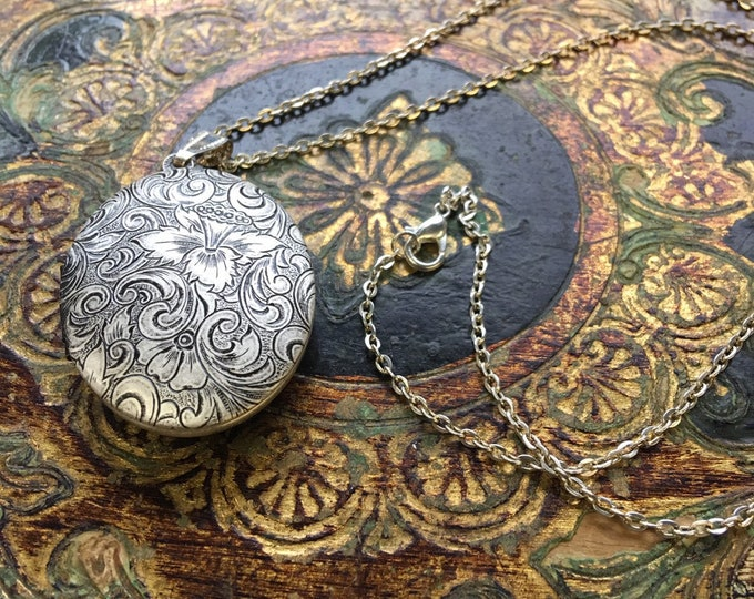 "Solid Brass Embossed Perfume Locket Necklace ~ Floral Tapestry in Silver Ox ~ Made in the USA ~ Vintage Style ~ Precious Keepsake, 24"" Chain"