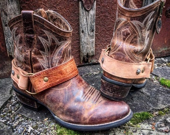 OLD WEST Bohemian Distressed Leather Boot Straps, Handcrafted Boot Harnesses // Ready to Ship