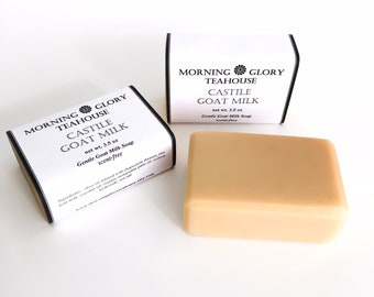 Castile Goat Milk Soap, Infused with Chamomile Flowers, Local Raw Goat Milk, Pure & Gentle, Baby Soap, Sensitive Skin, All Natural Soap