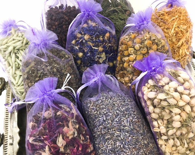 Organic Dried Botanical Sachet / Choose from Organic Rose Petals, Organic Lavender Buds, Wild-Harvested Jasmine Flowers & Many More