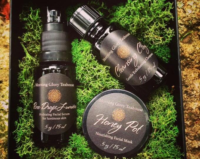 Botanical Gourmand Facial Gift Set ~ Exfoliating Cleansing Clay, Honey Pot Facial Mask, Rose Drops Lumiére Facial Serum for luminous skin