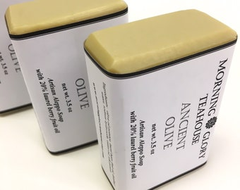 Ancient Olive Aleppo Soap with Mediterranean Laurel Berry Fruit Oil, All Natural Gentle Soap, Creamy Lather, Cured for at least 6 Months