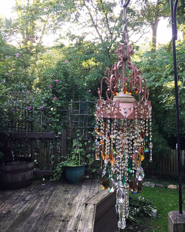 Grande Bohemian Garden Crystal Wind Chime Crystal Suncatcher Vintage French Chandelier Canopy Sparkling Dazzling