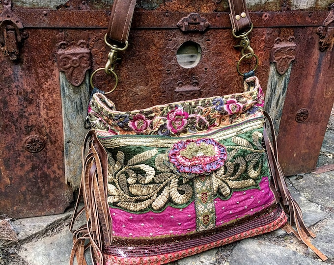 "Bohemian Rosewood Treasure Bag, Hobo Shoulder Slouch Bag, Exotic Cross Body Tote, Boho Purse with Leather Accents, 12"" x 15"""