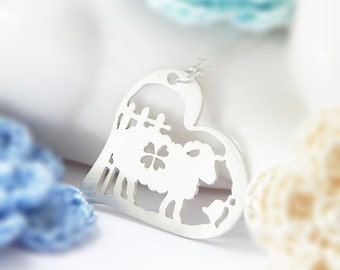 Sheep Necklace, Heart, Sterling Silver