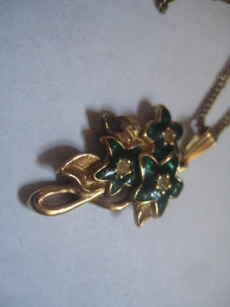 5 Dollar Listing Lovely Green Enamel Flowers Pendant on 19 Inch Gold Tone Chain