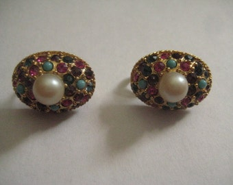 Vintage Colorful Jewels of India Clipback Earrings in Gold Tone Metal