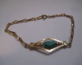Wire Wrapped 1 20th 14K Gold Filled Link Bracelet with Turquoise Bead
