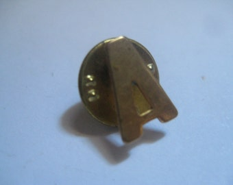 Letter A Tie Tack or Lapel Pin in Gold Tone Metal