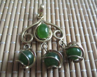 Jade Pendant in Gold Plated Metal with 3 Jade Balls Wrapped in Gold Wire