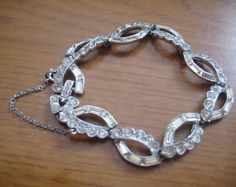 Vintage 50s ORA Link Bracelet with Chaton and Baguette Rhinestones in Rhodium Plating