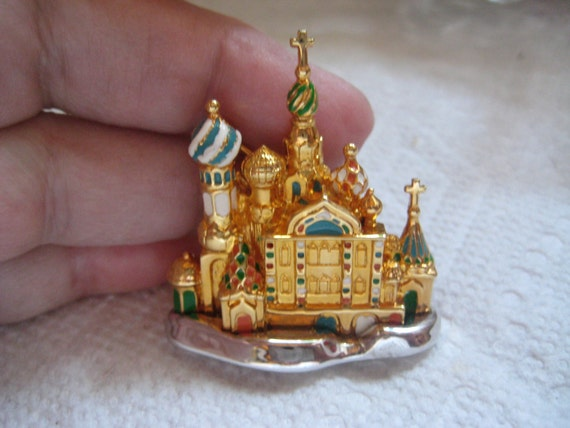 Joan Rivers Russian Cathedral Pin in Gold and Enam