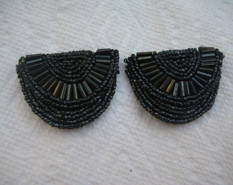 Black Hand Beaded Shoe Clips from the 50s or 60s Jet Beads