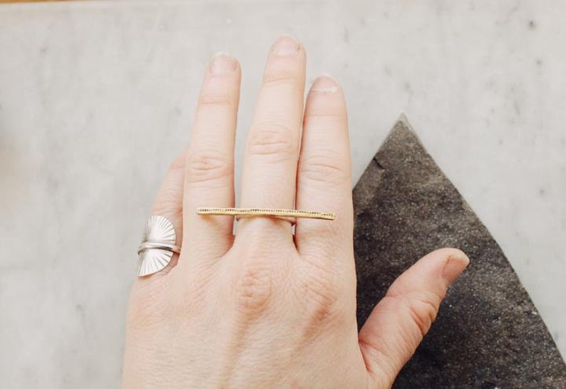 multi finger horizontal line ring MADE TO ORDER Minimal Brass and Sterling Silver Bar Ring |