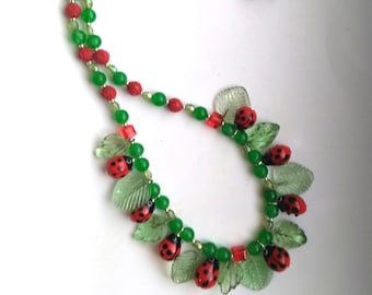 Ladybug & Leaves Statement Necklace, Green Aventurine, Glass Carved Leaves, Red Ladybugs with Black Polka Dots Necklace by enchantedbeads