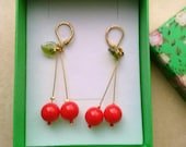 Red Cherry Fruit Earrings. Peridot Green Glass Leaves. Red Valentine . Christmas Holidays. Red Cherry Earrings . Faceted Czech Bead Earrings