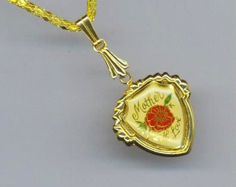 Mother's Day Pendant . Enameled Jewelry . Red Flower Pendant . Gold Plated Floral Vintage Charm - Mother with Love by enchantedbeas on Etsy