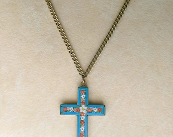 Rare Old Colorful Mosaic Cross, Vintage Brass Cross Pendant, Faith Christianity, Christian Jewelry - Italian Jewel by enchantedbeas on Etsy