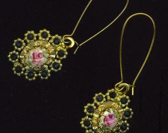 Vintage Floral Enamel Dangle Earrings . Pink& Green Flowers . Oval Rhinestone Settings . Upcycled - Antique Flower by enchantedbeas on Etsy