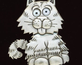 Vintage Cat Brooch, Pewter Brooch Signed JJ, cartoon cat jewelry, whimsical cat metal pewter, movable head& eyes, Garfield cat pin, mystical