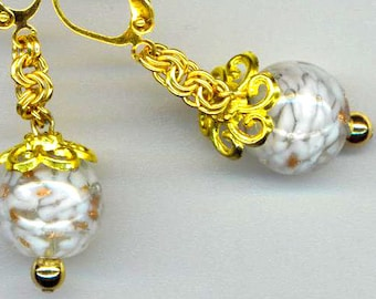 Milky Pierced Dangle Earrings. Gold Sparkle Marbled. Vintage German Glass Beads . Gold Plated Leverback - Milky Way by enchantedbeas on Etsy
