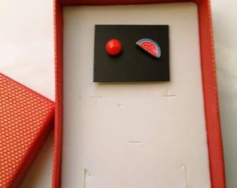 Red Summer Fruit Earrings, Mismatched/ Asymmetrical, Watermelon, Red Fruit Post Earrings, Small Studs, Minimalist Earrings by enchantedbeads