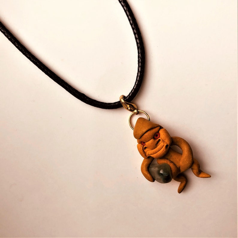 Fimo TROLL GNOME Pendant Clay Figure Holding a Polished Gemstone Leather Choker Kids Birthday Fun Cute Gift for Him Her by enchantedbeas
