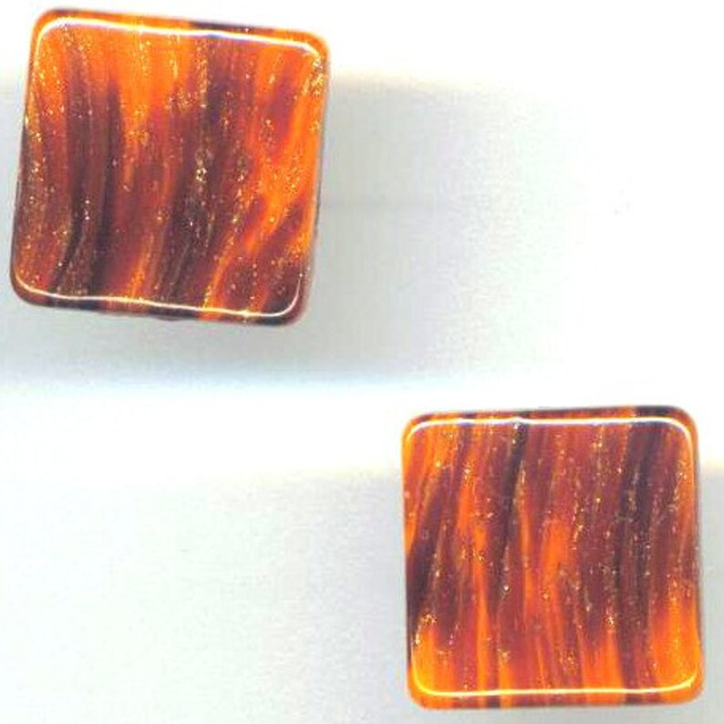 Caramel Brown Cufflinks Vintage German Glass Square Cuff-link Everyday Mens accessories Gift for Him Gift for Father/'s Day by enchantedbeas