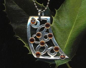 Vintage Deco Art/ Art Deco Geometric Pendant . Statement Pendant . Silver Color . Caramel Rhinestones- Bold Jewelry by enchantedbeas on Etsy