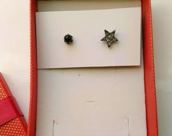 Silver Star Earrings, Mismatched/Asymmetrical, Bright Star & Black Planet Post Earrings, Small Studs, Minimalist Earrings by enchantedbeads