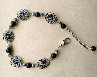Vintage Bracelet and Earring Set, Dangle Earrings, Geometric& Floral Silver Filigree - Black and Silver Filigree Bracelet by enchantedbeas