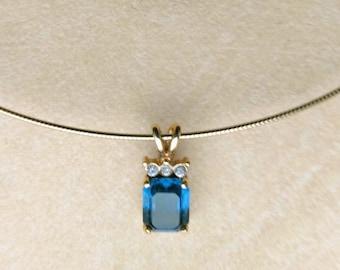 Blue Swarovski & Zirconia Gold Pl Pendant, Faceted Blue Sapphire like Stone, Prong Setting Rectangle Stone, Choker Necklace by enchantedbeas