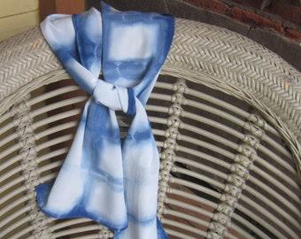 Indigo Boxes: Hand Dyed Crepe de Chine Silk Scarf