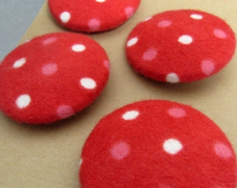 4 Large Polkadot Brushed Red Cotton Fabric Buttons