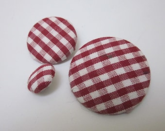 3 Mixed Red Gingham Fabric Buttons