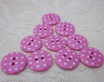 10 Small Cerise Polkadot Buttons