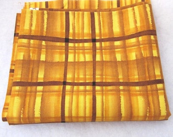 Rich Gold Brown Plaid Tartan Pattern Cotton Fat Quarter