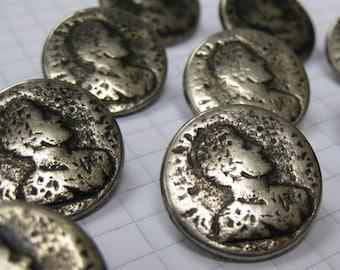 10 Small Silver Roman Emperor Buttons