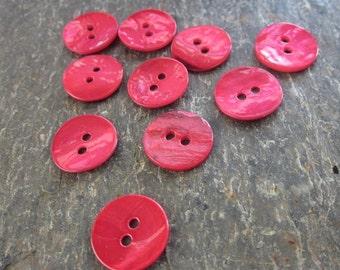 10 Medium Small 18mm Pink Shell Buttons