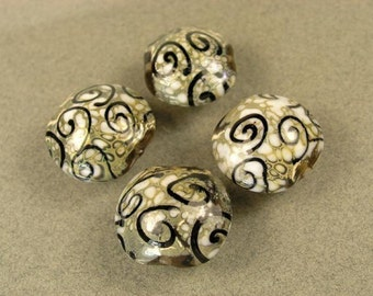 19x18mm---Sage GREEN BLACK SWIRL Lampwork Coin Beads---6 Beads
