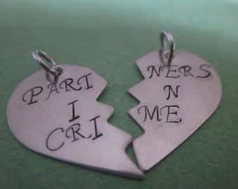 Partners In Crime  Set of Two Charms. Best friend jewelry DIY add charms to your own necklace or keychain