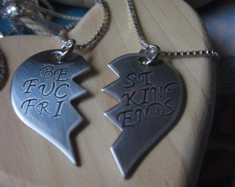Best F%king Friends Necklaces BFF Bitches mature content Set of Two broken sterling silver chain necklaces